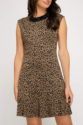 She + Sky Animal print fit and flare dress