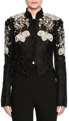 Dolce & Gabbana Jeweled Floral Jacquard Cropped Jacket, Black $13,500 thestylecure.com