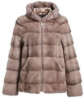 The Fur Salon Women's Norman Ambrose For The Fur Salon Hooded Mink Fur Jacket
