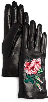 Bloomingdale's Embroidered Leather Gloves - 100% Exclusive