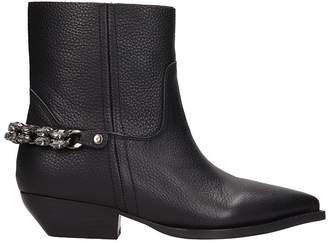 Lola Cruz Black Leather Texan Ankle Boots