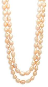 Kenneth Jay Lane Simulated Pearl and Crystal Two-Row Necklace