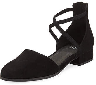 Eileen Fisher Lyton Suede Low-Heel Ankle-Wrap Flats