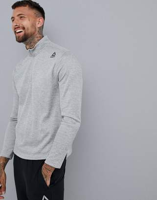 Reebok Training Double Knit Half Zip Sweat In Gray DH1935