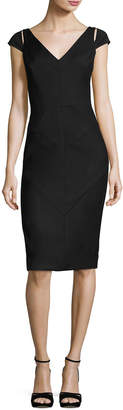 Milly Larissa Short-Sleeve Italian Gabardine Sheath Dress