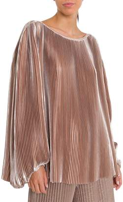 Krizia Pleated Champagne Blouse