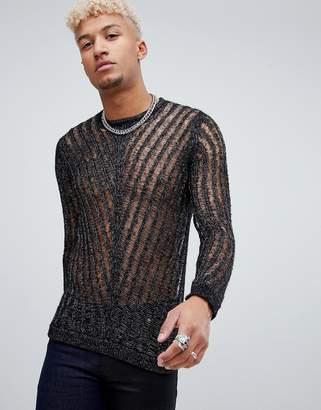 Asos DESIGN laddered sweater with silver metallic yarn