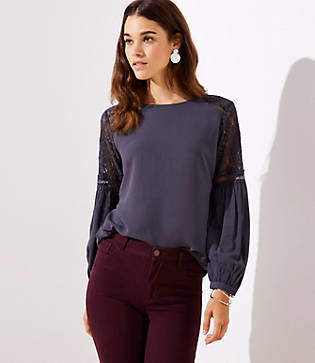 LOFT Lace Lantern Sleeve Top