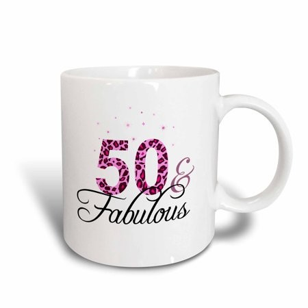3dRose 50 and Fabulous - fun girly birthday gift - black and hot pink leopard print pattern bday diva text - Ceramic Mug, 15-ounce