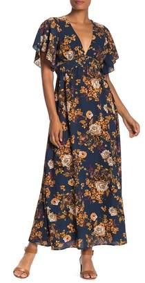 BAILEY BLUE Floral Flutter Sleeve Maxi Dress