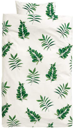 H&M Leaf-print duvet cover set - Green