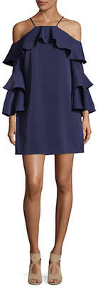 Laundry by Shelli Segal Ruffled Cold-Shoulder Dress