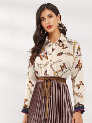 Shein Butterfly Print Single Breasted Blouse