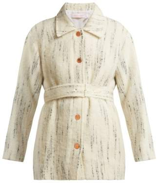See by Chloe Marbled Stripe Brushed Coat - Womens - Ivory