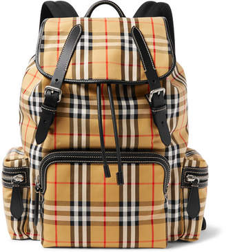 Burberry Leather-Trimmed Checked Canvas Backpack - Tan