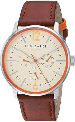 Ted Baker Men's 'JASON' Quartz Stainless Steel and Leather Casual Watch, Color Brown (Model: TE15066005)