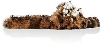 Miu Miu Women's Embellished Mohair Eco-Shearling Slide Sandals
