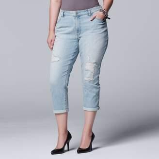 Vera Wang Plus Size Simply Vera Ripped Boyfriend Jeans