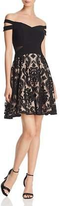 Aqua Off-the-Shoulder Damask Dress - 100% Exclusive
