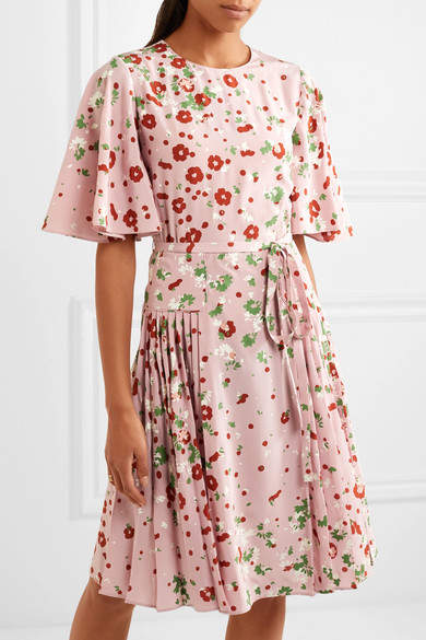 Valentino - Floral-print Silk Crepe De Chine Dress - Pink 2
