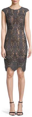 Jovani Stretch Lace Cap-Sleeve Dress w/ Scalloped Hem