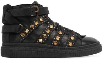 Fausto Puglisi Studded Leather Mid Top Sneakers