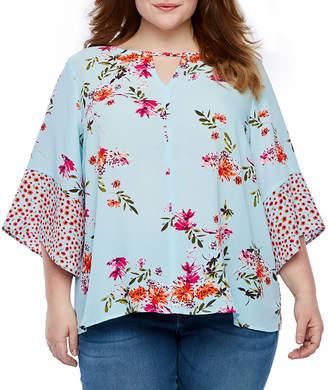 A.N.A Womens Keyhole Neck 3/4 Sleeve Floral Blouse-Plus