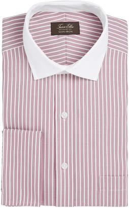 Tasso Elba Men's Classic/Regular Fit Non-Iron Twill Bar Stripe French Cuff Dress Shirt