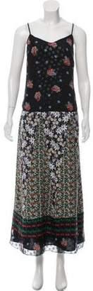 Anna Sui Sleeveless Printed Maxi Dress Black Sleeveless Printed Maxi Dress