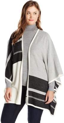 NYDJ Women's Plus-Size Color Block Blanket Sweater Cardigan