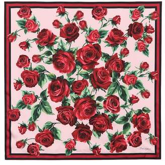 Dolce & Gabbana Rose-printed silk scarf