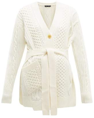 Proenza Schouler Belted Cable Knit Wool Cardigan - Womens - Ivory