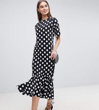 Asos Tall TALL Drop Hem Maxi Dress In Polka Dot