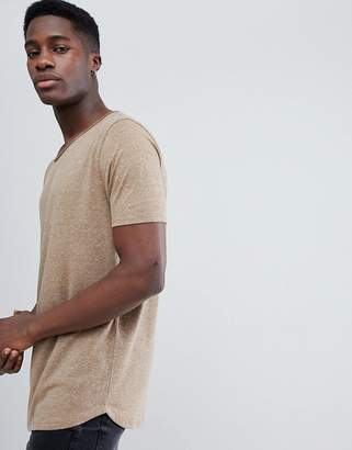 Asos DESIGN relaxed longline t-shirt with raw scoop neck and curve hem in linen mix in brown