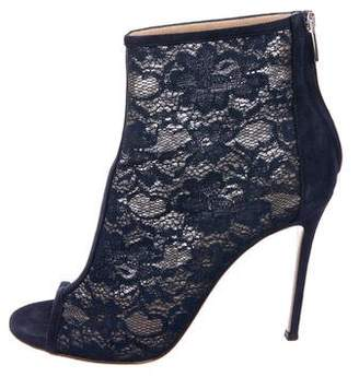 Gianvito Rossi Lace Peep-Toe Booties