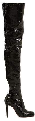 Christian Louboutin Louise 100 Over The Knee Boots - Womens - Black Silver