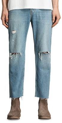 ALLSAINTS Danvers Sid Straight Fit Jeans in Indigo Blue $178 thestylecure.com