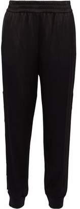 Alice + Olivia Faux Pearl-Embellished Satin-Crepe Track Pants