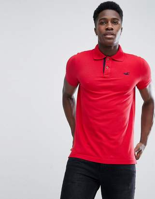 Hollister Polo Stretch Pique Icon Logo Slim Fit in Red Oxford
