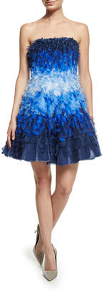 Alexandra Vidal Strapless Ombre Silk Organza Dress, Blue/Multi