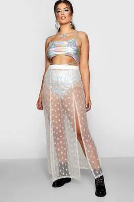 boohoo Plus Mesh Overlay Maxi Skirt With Split