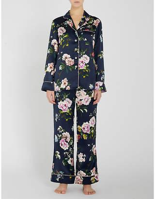 Olivia Von Halle Lila Meredith floral-print piped pyjamas