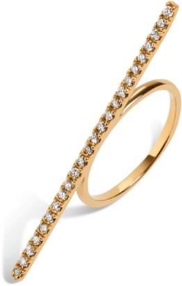 Aurate Diamond Bar Ring With White Diamonds