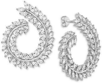 Tiara Cubic Zirconia Swirl Drop Earrings in Sterling Silver