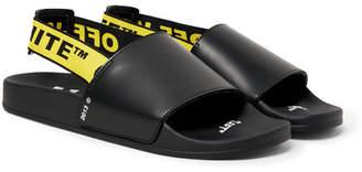 Off-White Printed Leather Slides - Black