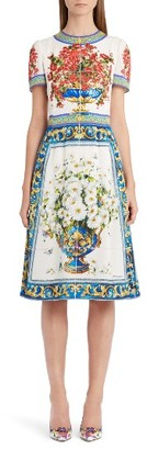 Women's Dolce&gabbana Print Silk Fit & Flare Dress $2,275 thestylecure.com