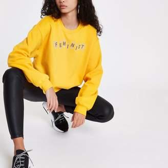 River Island Womens Yellow 'feminist' cropped sweatshirt