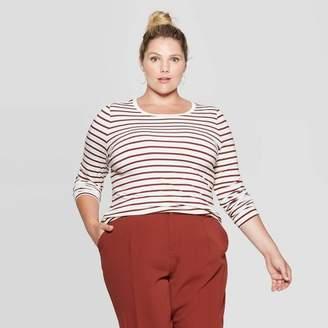 Ava & Viv Women's Plus Size Striped Long Sleeve Crewneck T-Shirt - Ava & VivTM Cream/Brown