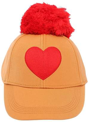 Mini Rodini Gabardine Heart Embroidered Hat