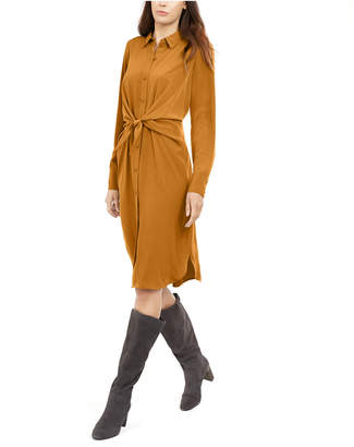 Alfani Petite Tie-Front Shirt Dress